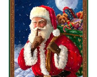 "Christmas Fabric Panel, Santa's Night Out Panel 36x43"" from QT Fabrics"