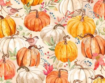 Autumn Day Packed Pumpkins Fabric by the Yard / Wilmington Prints Yardage & Fat Quarter Fabric