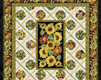 """Sunflower Quilt Kit, Flowers of the Sun Project Quilt Kit by Wilmington Prints Fabric for Quilt Top and Binding, Quilt 84 1/2"""" x 90-1/2"""""""