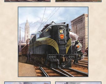 Train Fabric Panel / All Aboard Train Panel Designed by Marc Desobeau for Blank Quilting  fabric panel