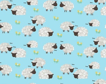 Sheep on Blue Fabric by the yard, Farm Animal Fabric from Henry Glass Yardage & Fat Quarters available