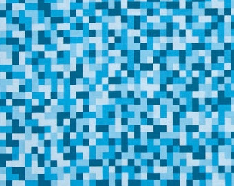 Minecraft Fabric / Bitmap Fabric / Blue Minecraft by the yard / Minecraft Style Yardage Michael Miller cx7029 / By The Yard and Fat Quarter