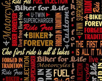 Biker For Life Fabric By The Yard / Biker Lingo, Words on Black Motorcycles on Black / Quilting Treasures 26019 / Fat Quarters and Yardage