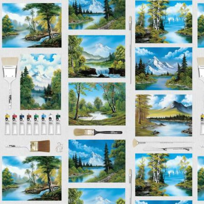 Bob Ross Paint Canvas /& Brushes Fabric The Joy of Painting  Collection from Studio-E  Teacher Appreciation Yardage and Fat Quarters
