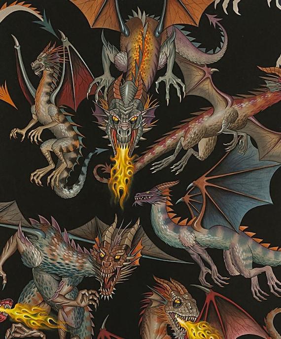 DRAGON DRAGONS FANTASY THRONES BRIGHT COLORS COTTON FABRIC BTHY