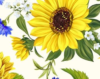 Sunflower Sunrise Sunflower Garden on White Fabric from Benartex / Blender Fabric Yardage and Fat Quarters
