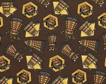 ON SALE Doctor Who Dalek Exterminate on Brown / SC Doctor Who 15307  / Tardis Fabric / Dr Who by the Yard /  Yardage and Fat Quarters