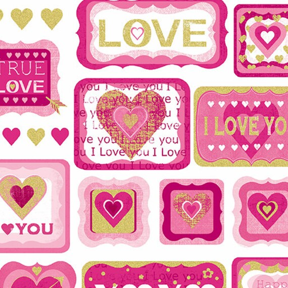 Love Letters Valentine/'s Day Fabric by the yard or half yard Pink Watercolor R