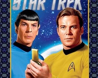 ON SALE Star Trek Spock & Kirk Panel /  Quilt Fabric Panel 36in x 44in 7370111P / Star Trek Quilt Panel Camelot Fabrics