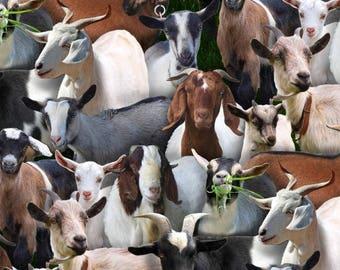 Goats on Black Fabric / Farm Animals Fabric / Elizabeth's Studios  434 Black / Goats Toss Fabric / Goats Yardage & Cow Fat Quarters