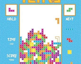 "ON SALE Tetris 36"" Fabric Panel / Tetris Quilt Fabric Panel  / Riley Blake Fabric Panels / Arcade Games Quilt Top Fabric Panel"