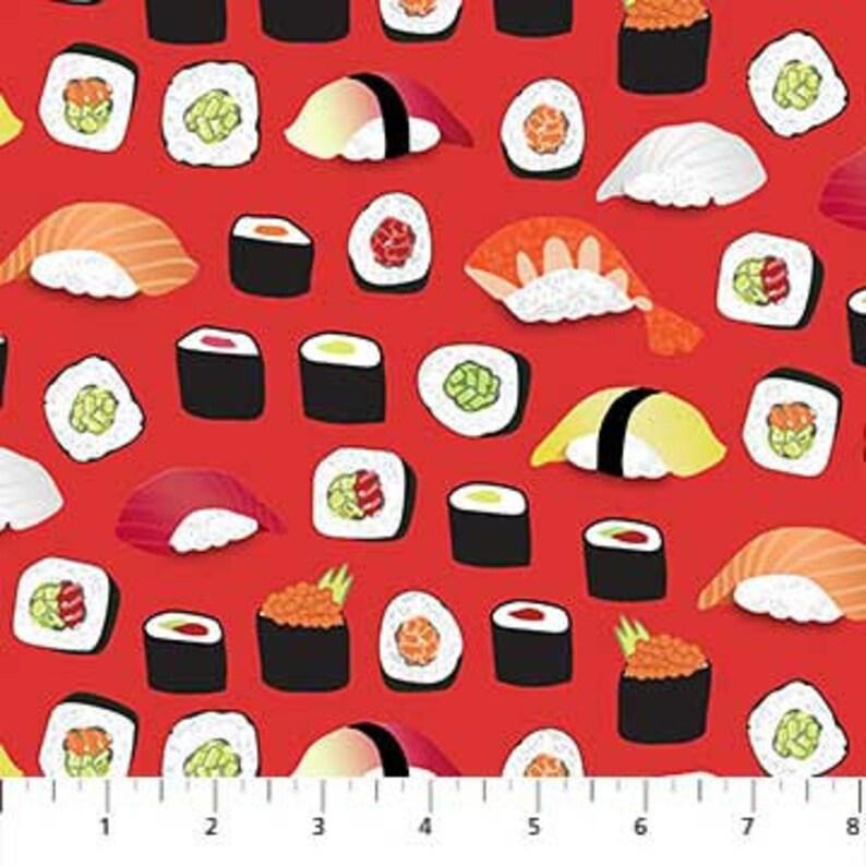 "NORTHCOTT /""SUSHI/"" FOOD FISH CHOPSTICKS FABRICS SELECTION"