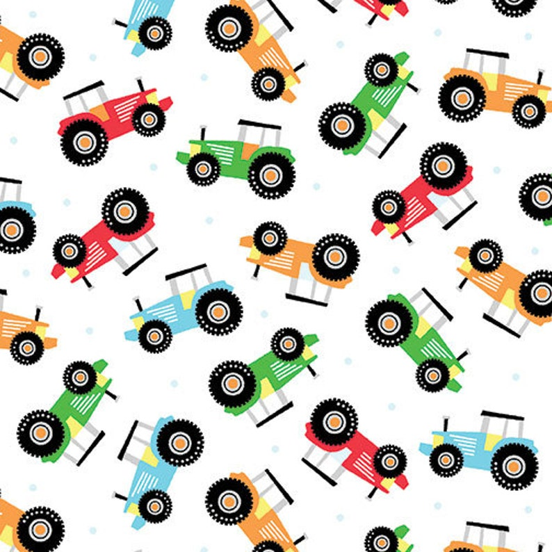 Farm Tractors on White Fabric / Happy Farm Fabric / Tractor Fabric by the  yard, Kanvas 08843 Tractor Yardage, By The Yard and Fat Quarters