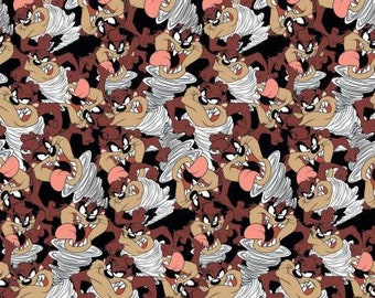 Looney Tunes Tazmanian Devil Expressions Fabric / Looney Toons II Fabric by Camelot By The Yard and Fat Quarters Available