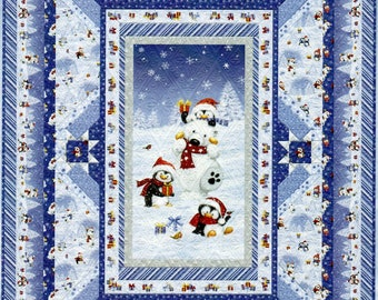 Snow What Fun Quilt Kit / Christmas Winter Holiday Quilt, by Wilmington Prints Fabric for Quilt Top and Binding, Quilt 66x90 inches