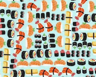 Sushi Fabric by the yard / Food Fabric / Timeless Treasures Food - C5244 - Sushi / Yardage and Fat Quarters