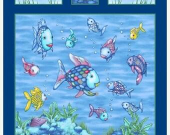 "ON SALE The Rainbow Fish Fabric Panel / Rainbow Fish on Blue Fabric / 23"" x 44"" Cotton Panel / Marcus Fabrics 9776-0750"