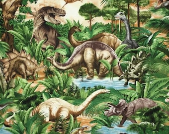 ON SALE Dinosaur Fabric / Dinosaur Jungle Fabric / Timeless Treasures C1545  - Fat Quarters and By The Yard