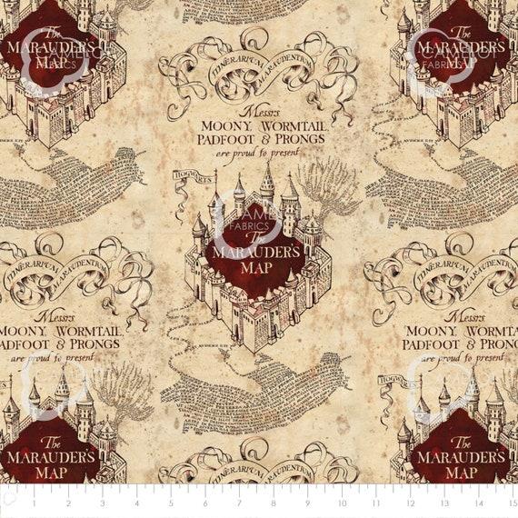Marauders Map Fabric Harry Potter Wizarding World Fabric / HP Camelot  2380019 Marauders Map Fabric By The Yard & Harry Potter Fat Quarters