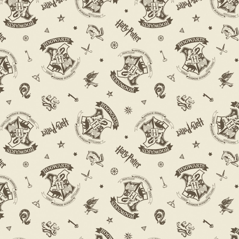 Line Art White Cotton Multiple Sizes Wizarding World Harry Potter Fabric