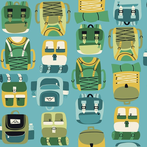 Camping Fabric Sky Fabric from RJR Fabrics Backpacks Camping Crew Yardage and Fat Quarters available