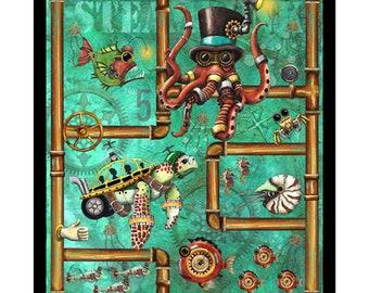 """Aquatic Steampunkery Fabric Panel / Aqua Punk Steampunk Aquatic 36"""" Fabric Panel / QT Quilting Fabric Panels"""