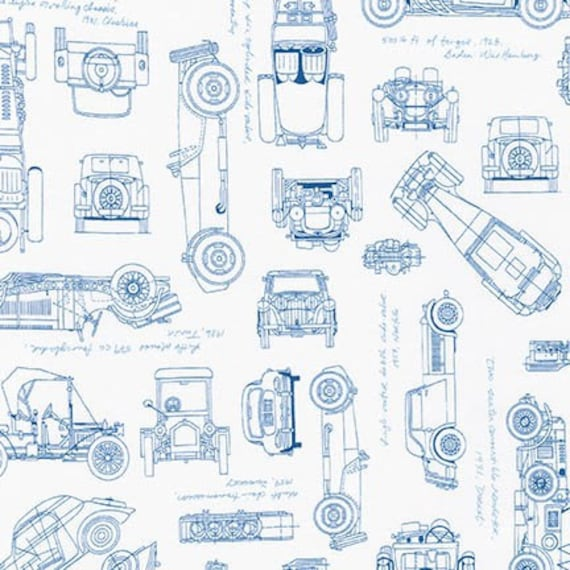 Vintage Car Fabric / Vintage Blueprints / Automobile Blueprint ...