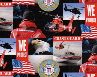 Coast Guard Military Fabric / Fabrique Innovations 021-C / Coast Guard Quilt Fabric / Military Fabric By The Yard and Fat Quarters