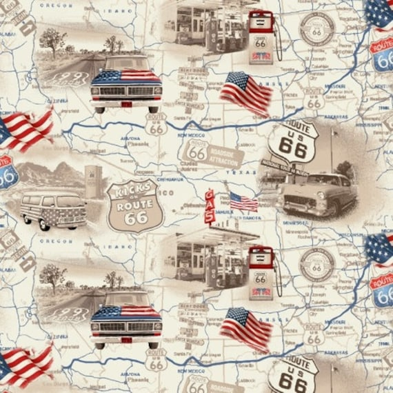 Road Map Fabric / Cream Road Map Fabric / Studio-E 4314 / All American Road  Trip Fabric / USA Map Fat Quarter Fabric and Yardage