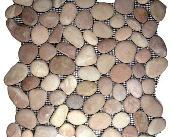 Hand Made Pebble Tile - Berry 1 sq. ft. - Use for Mosaics, Showers, Flooring, Backsplashes and More!