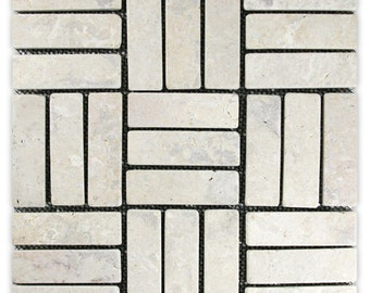 Hand Made Mini Stone Tile - Cream Weave Mini Stone Tile 1 sq. ft. - Use for Mosaics, Showers, Flooring, Backsplashes and More!
