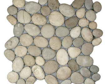 Hand Made Pebble Tile - Java Tan 1 sq. ft. - Use for Mosaics, Showers, Flooring, Backsplashes and More!