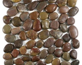 Hand Made Pebble Tile - Polished Red 1 sq. ft. - Use for Mosaics, Showers, Flooring, Backsplashes and More!