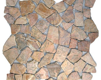 Hand Made Pebble Tile - Red Mosaic 1 sq. ft. - Use for Mosaics, Showers, Flooring, Backsplashes and More!