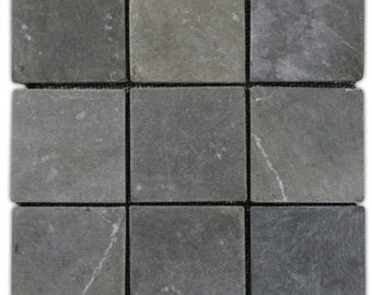 "Hand Made Stone Tile - Grey 4"" x 4"" Stone Mosaic Tile 1 sq. ft. - Use for Mosaics, Showers, Flooring, Backsplashes and More!"