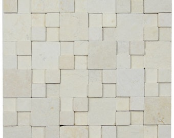 Hand Made 3D Stone Tile - 3D Cream Blocks Stone Tile - Use for Mosaics, Showers, Flooring, Backsplashes and More!