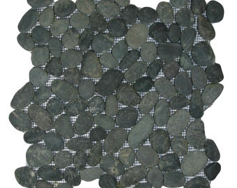 Hand Made Pebble Tile - Charcoal Black 1 sq. ft. - Use for Mosaics, Showers, Flooring, Backsplashes and More!