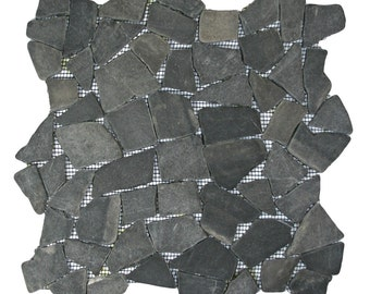 Hand Made Pebble Tile - Grey Mosaic 1 sq. ft. - Use for Mosaics, Showers, Flooring, Backsplashes and More!