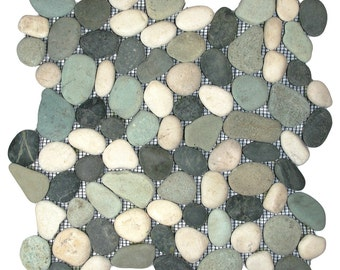 Hand Made Pebble Tile - Bali Turtle 1 sq. ft. - Use for Mosaics, Showers, Flooring, Backsplashes and More!