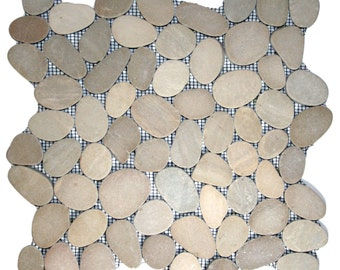 Hand Made Pebble Tile - Sliced Java Tan 1 sq. ft. - Use for Mosaics, Showers, Flooring, Backsplashes and More!
