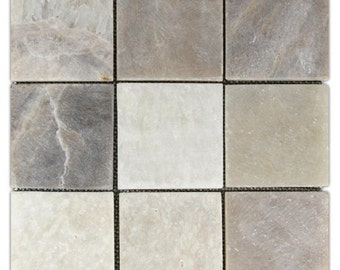 "Hand Made Stone Tile - Mixed Quartz 4"" x 4"" Stone Mosaic Tile 1 sq. ft. - Use for Mosaics, Showers, Flooring, Backsplashes and More!"