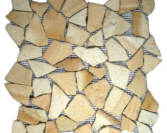 Hand Made Pebble Tile - Sandstone Mosaic 1 sq. ft. - Use for Mosaics, Showers, Flooring, Backsplashes and More!
