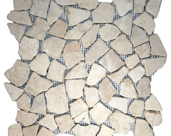 Hand Made Pebble Tile - Ecru White Mosaic 1 sq. ft. - Use for Mosaics, Showers, Flooring, Backsplashes and More!