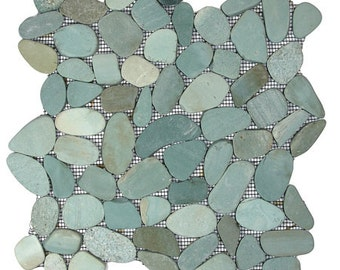 Hand Made Pebble Tile - Sliced Sea Green 1 sq. ft. - Use for Mosaics, Showers, Flooring, Backsplashes and More!