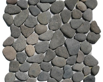 Hand Made Pebble Tile - Island Grey 1 sq. ft. - Use for Mosaics, Showers, Flooring, Backsplashes and More!