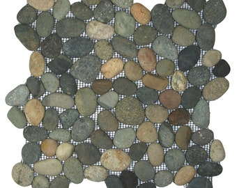 Hand Made Pebble Tile - Bali Ocean 1 sq. ft. - Use for Mosaics, Showers, Flooring, Backsplashes and More!