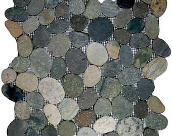 Hand Made Pebble Tile - Sliced Bali Ocean 1 sq. ft. - Use for Mosaics, Showers, Flooring, Backsplashes and More!