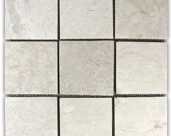 "Hand Made Stone Tile - Cream 4"" x 4"" Stone Mosaic Tile 1 sq. ft. - Use for Mosaics, Showers, Flooring, Backsplashes and More!"
