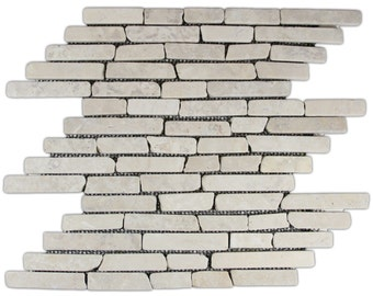 Hand Made Stone Tile - Cream Pencil Stone Tile 1 sq. ft. - Use for Mosaics, Showers, Flooring, Backsplashes and More!