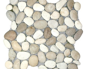 Hand Made Pebble Tile - Java Tan and White 1 sq. ft. - Use for Mosaics, Showers, Flooring, Backsplashes and More!